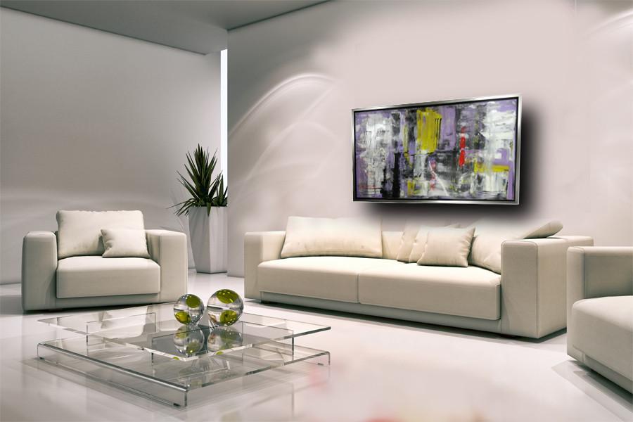 quadro con cornice argento c426 - quadro fatto a mano su tela con cornice argento 120x70