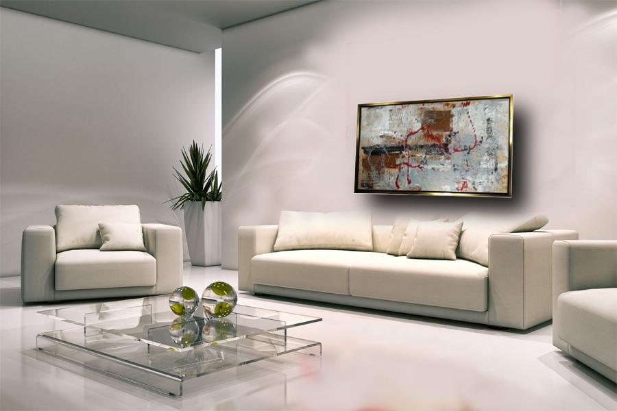 quadro con cornice soggiorno c421 - quadro su tela con cornice  oro 120x70
