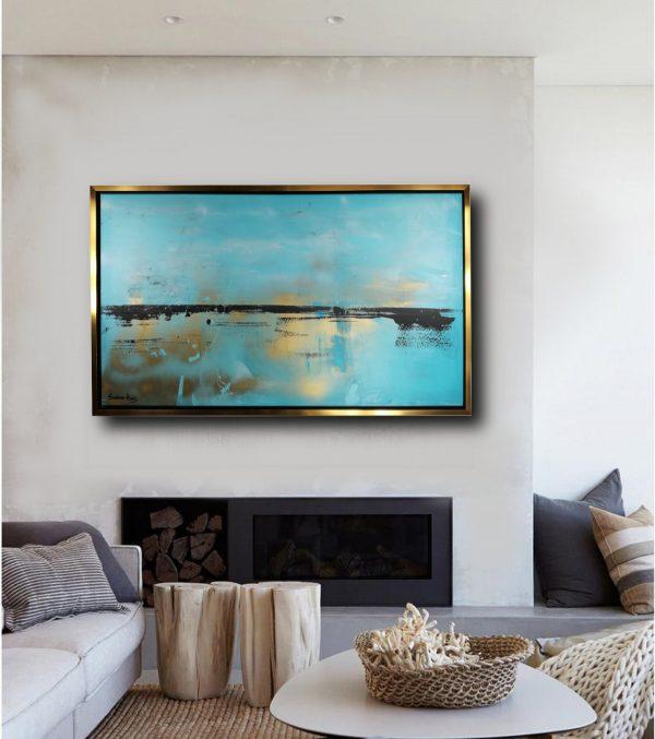 quadro moderno oro c431 600x677 - quadro dipinto a mano su tela con cornice oro 120x70