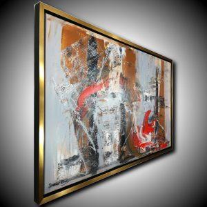 quadro su tela astratto con cornice radiale c420 300x300 - quadro per soggiorno astratto con cornice oro 120x70