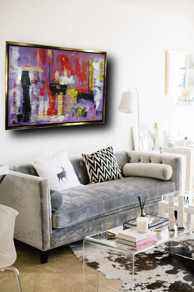 quadro su tela con cornice oro c427 - dipinto su tela con cornice  oro 120x70