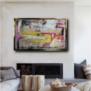 quadro su tela astratto con cornice oro c446 300x300 - tele moderne