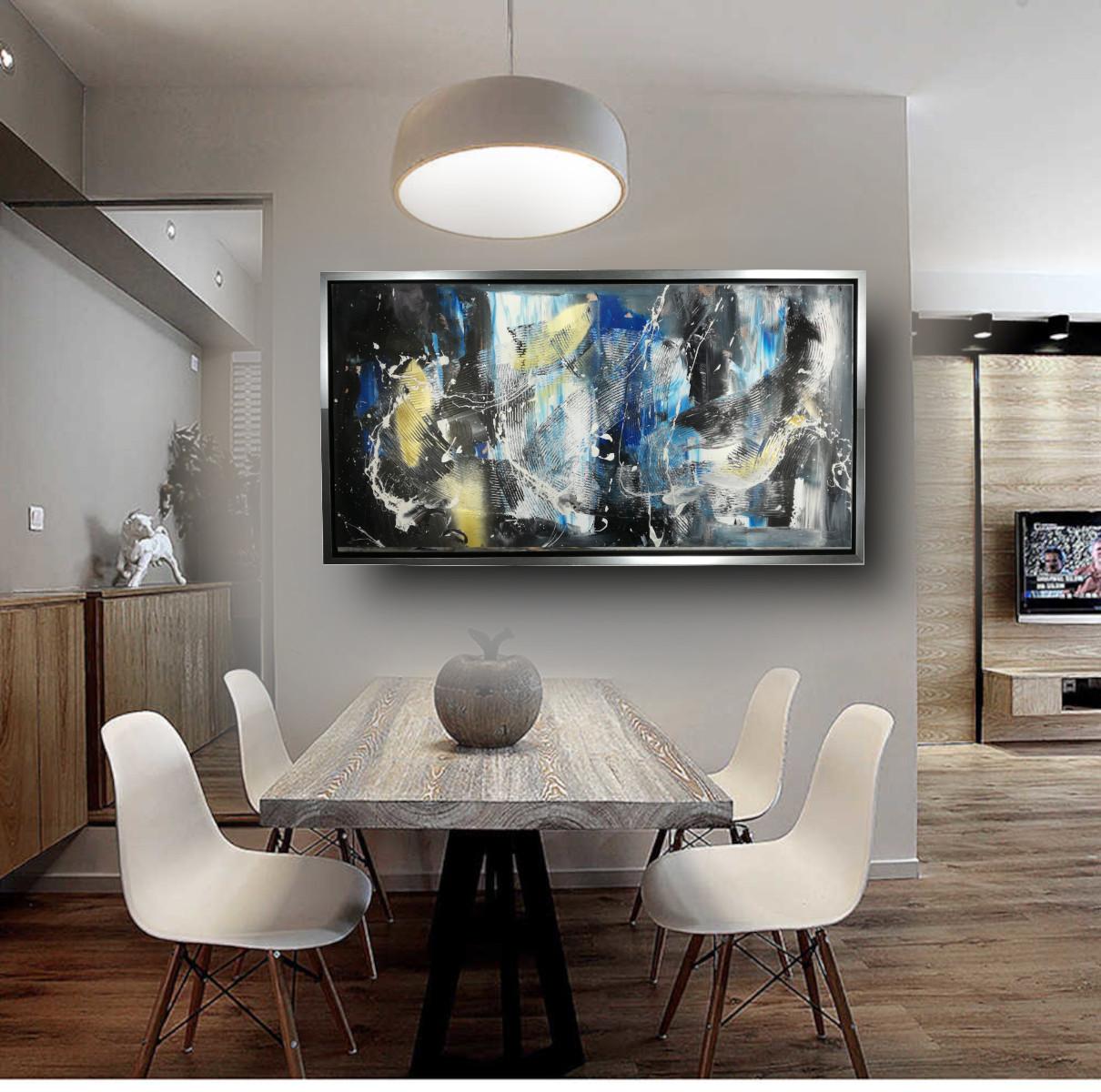 dipinto su tela per soggiorno 120x60 con cornice argento